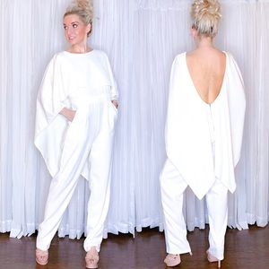 White Open Back Cape Pants Jumper with Pockets